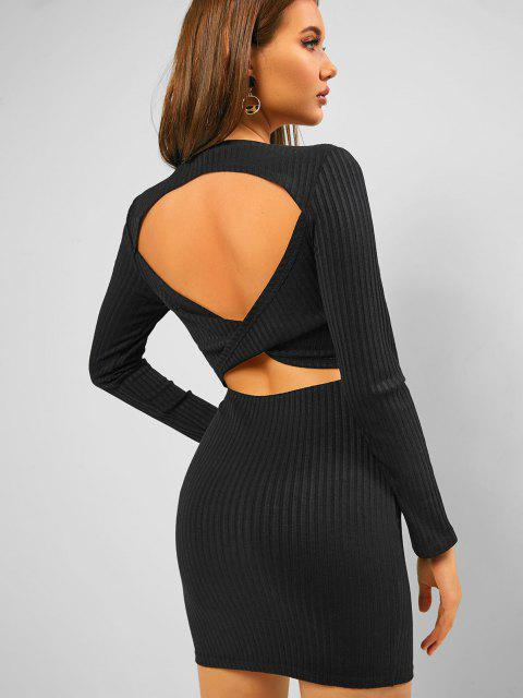 chic ZAFUL Ribbed Twisted Cutout Bodycon Dress - BLACK S Mobile