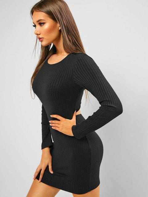 ladies ZAFUL Ribbed Twisted Cutout Bodycon Dress - BLACK L Mobile