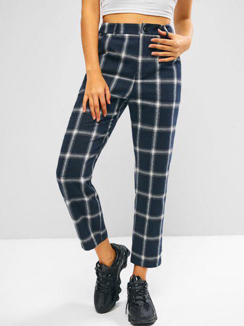unique ZAFUL Plaid Flannel High Waisted Pocket Pants - DARK SLATE BLUE S Mobile
