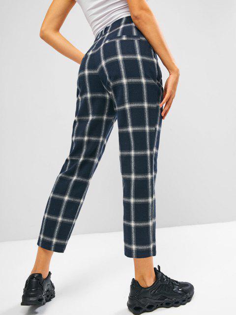 shop ZAFUL Plaid Flannel High Waisted Pocket Pants - DARK SLATE BLUE M Mobile