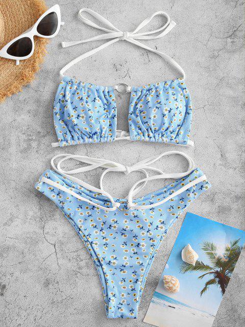 ZAFUL Costume da Bagno Bikini a Righe con Stampa Incrociata Ditsy - Azzurro S Mobile