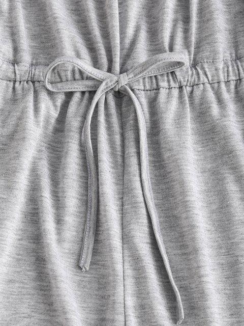 Schulterfreier Knie Tasche Zerrissene Lounge Jumpsuit - Hellgrau M Mobile