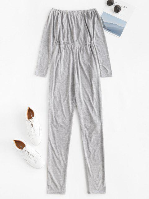 hot Off Shoulder Knee Ripped Pocket Lounge Jumpsuit - LIGHT GRAY S Mobile