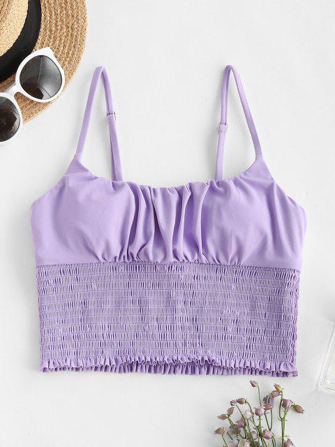 ZAFUL Ruched Smocked Detail Cropped Bikini Top - ضوء ارجواني S Mobile