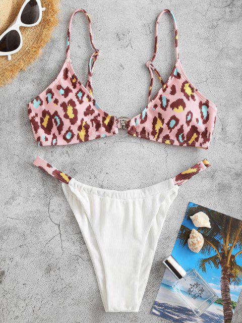 ZAFUL Maillot de Bain Bikini Côtelé Léopard Bague en O à Jambe Haute - Rose clair L Mobile