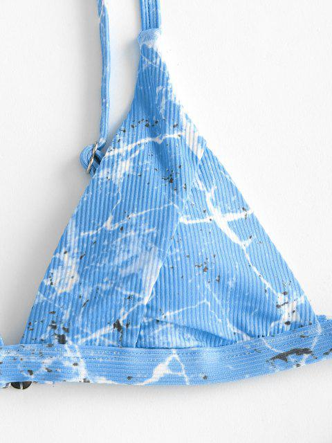 ZAFUL Costume da Bagno Bikini a Costine con Stampa Marmo - Blu Chiaro S Mobile