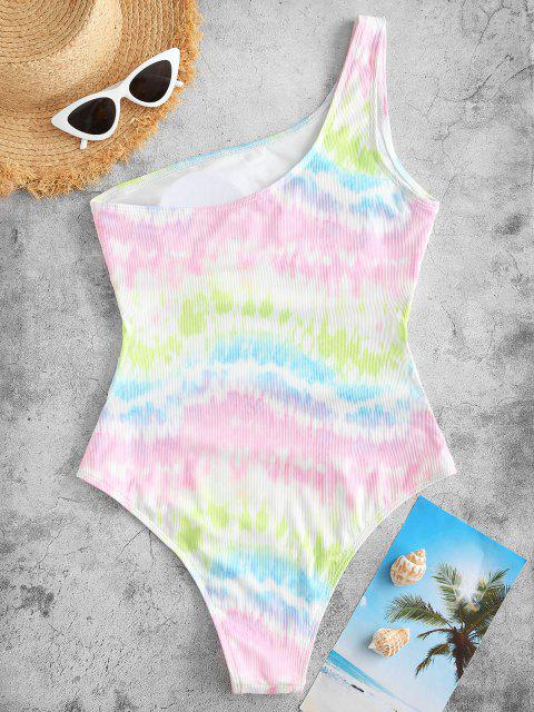 women ZAFUL Ribbed Tie Dye Cutout One Shoulder One-piece Swimsuit - WHITE S Mobile