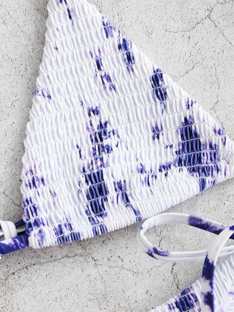 sale ZAFUL Tie Dye Smocked Bralette String Bikini Swimwear - BLUE S Mobile