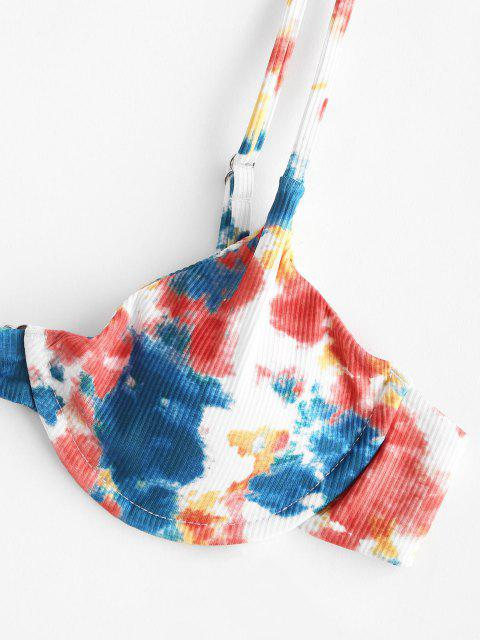 women ZAFUL Ribbed Tie Dye String Bikini Swimwear - MULTI L Mobile