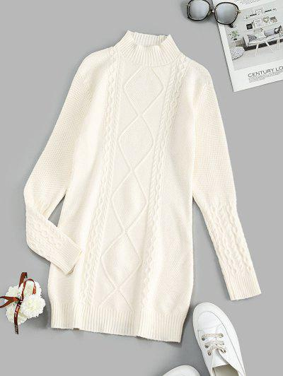 Cable Knit Mock Neck Sweater Dress - White