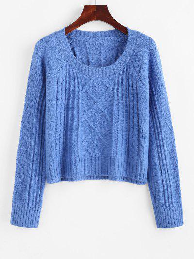 Raglan Sleeve Cable Knit Fisherman Sweater - Blue