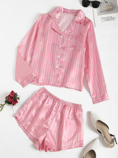 Striped Front Pocket Satin PJ Set - Blush Red M