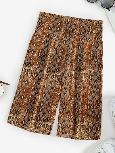 High Waisted Snake Print Short Leggings - Coffee M