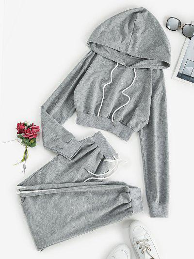 Drop Shoulder Hoodie And Jogger Sweat Pants Set - Light Gray M