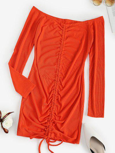 Off The Shoulder Ribbed Cinched Bodycon Dress - Orange M