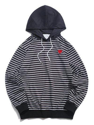 ZAFUL Heart Embroidered Striped Print Pullover Hoodie - Black Xl