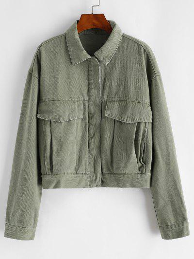 Button Up Flap Detail Denim Jacket - Deep Green M