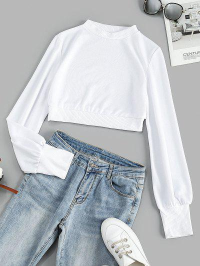 Mock Neck Ribbed Trim Cropped Tee - White L