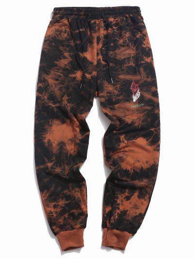 ZAFUL Flower Flame Tie Dye Print Sports Pants - Dark Orange 2xl
