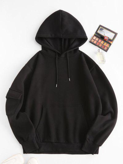 Fleece Lined Pocket Detail Oversized Hoodie - Black M