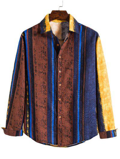 Vertical Striped Ethnic Long Sleeve Shirt - Multi M