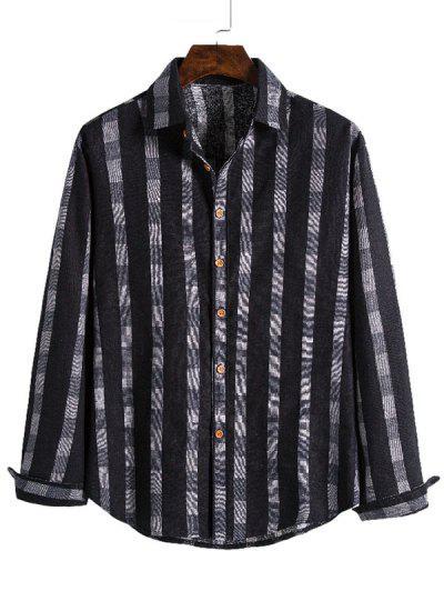 Checked Stripe Print Button Up Leisure Shirt - Black Xl