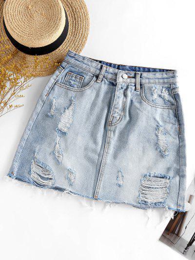 Ripped Mini Denim Skirt - Light Blue M