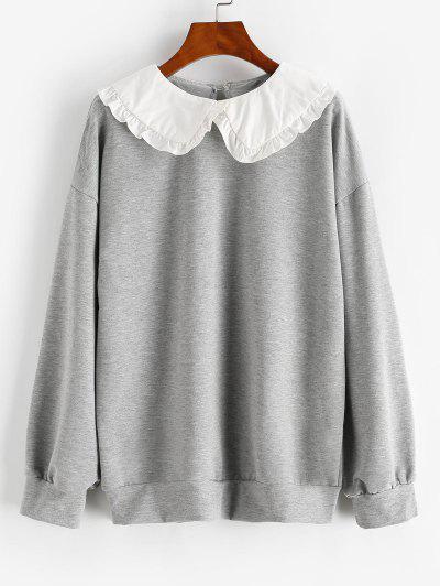 Frilled Peter Pan Collar Combo Sweatshirt - Light Gray M