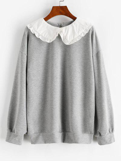 Frilled Peter Pan Collar Combo Sweatshirt - Light Gray S