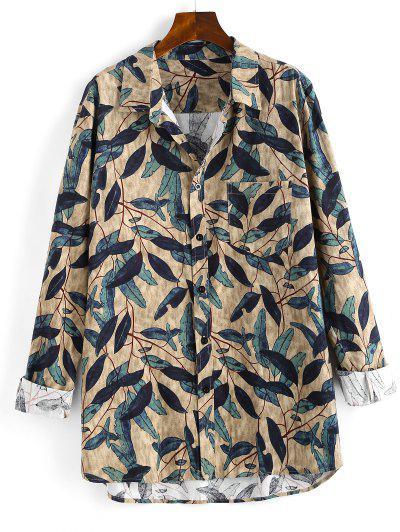 Plant Leaf Print Pocket Patch Long Sleeve Shirt - Multi M