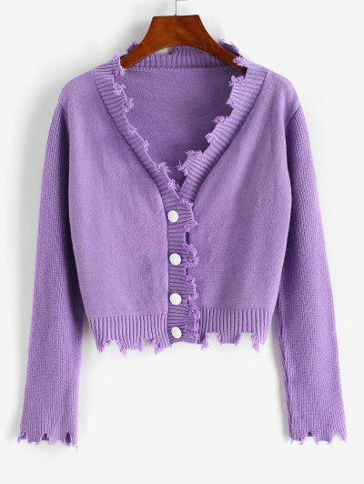 Distressed Button Up Crop Cardigan - Purple