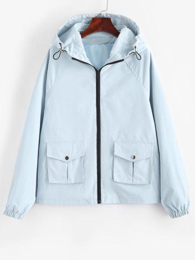 Hooded Zip Up Raglan Sleeve Cargo Jacket - Light Blue M