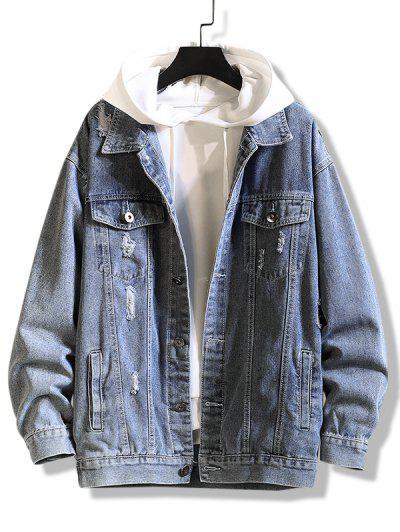 Letter Print Distressed Drop Shoulder Jean Jacket - Silk Blue 4xl