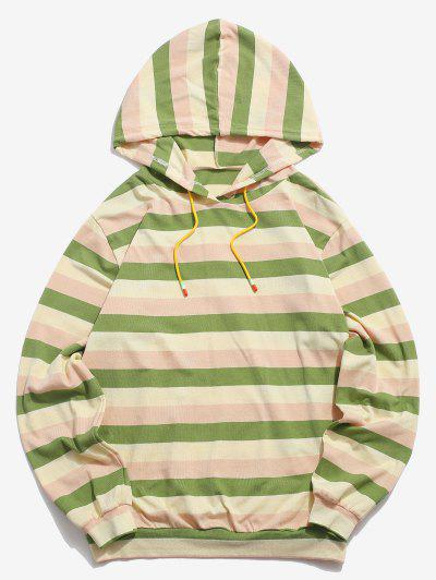 Colorblock Stripes Knitted Hoodie - Light Green Xl