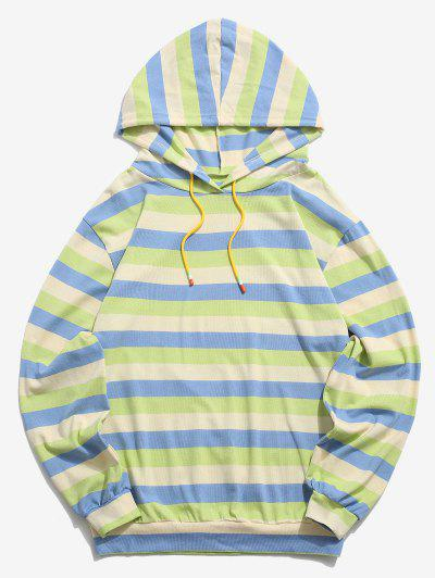 Colorblock Stripes Knitted Hoodie - Blue 2xl