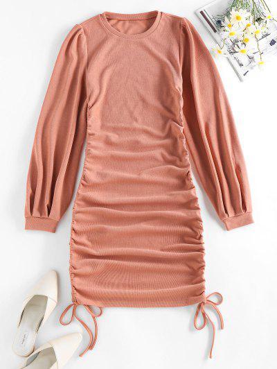 ZAFUL Cinched Side Ribbed Mini Bodycon Dress - Deep Peach Xl