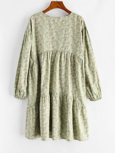 Ditsy Floral Long Sleeve Straight Tunic Dress - Light Green M