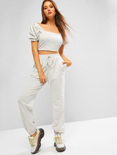 ZAFUL Puff Sleeve Space Dye Smocked Two Piece Sweatpants Set - Platinum M
