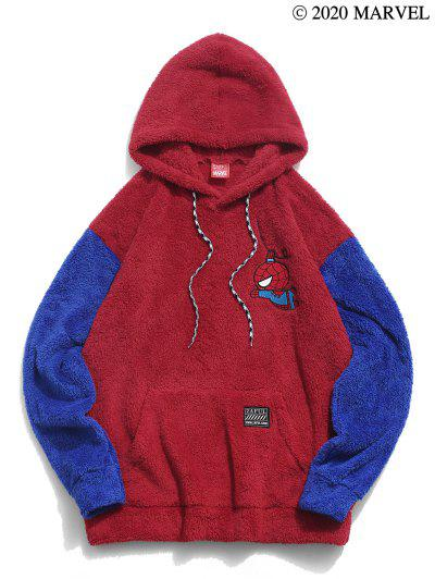 Marvel Spider-Man Embroidery Colorblock Panel Fluffy Hoodie - Multi-a 2xl