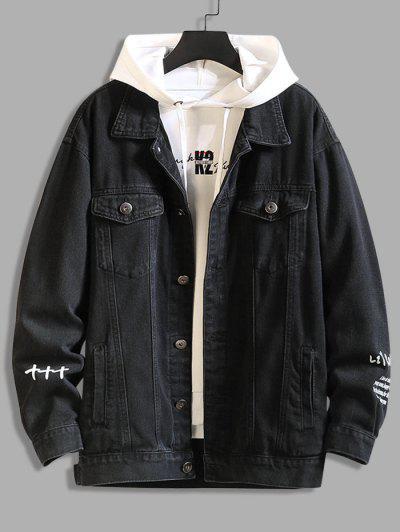 Letter Text Dual Pockets Drop Shoulder Denim Jacket - Black 4xl