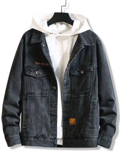 Letter Emboridery Dual Pockets Casual Jean Jacket - Black 3xl