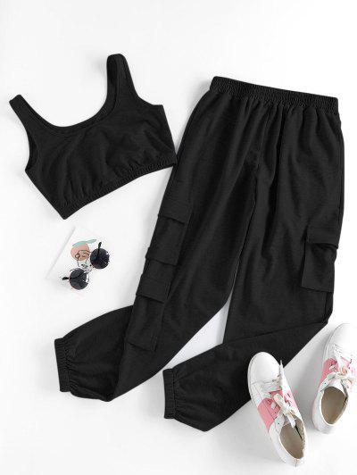 ZAFUL Pocket Sleeveless High Waisted Joggers Set - Black S