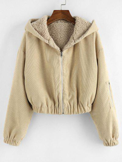 ZAFUL Faux Fur Lined Hooded Corduroy Coat - Tan Brown S
