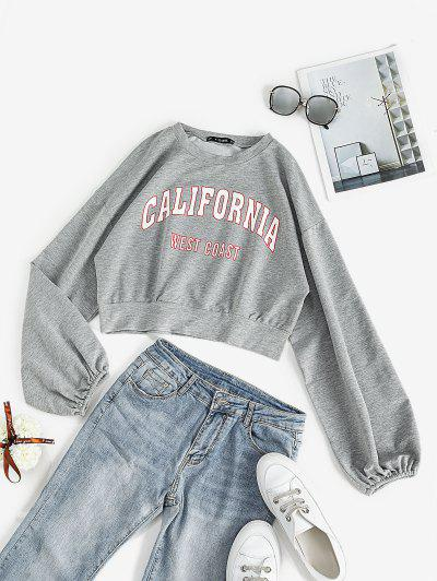 Lantern Sleeve CALIFORNIA Graphic Sweatshirt - Light Gray L