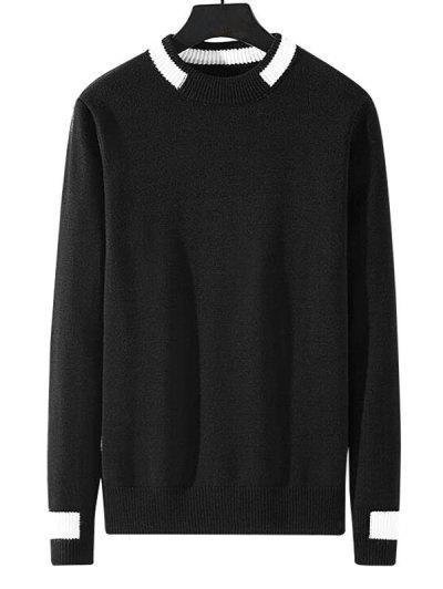 Colorblock Stripe Pullover Knit Sweater - Black S