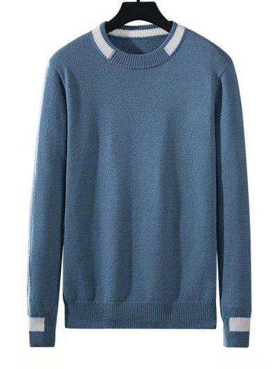 Colorblock Stripe Pullover Knit Sweater - Silk Blue L
