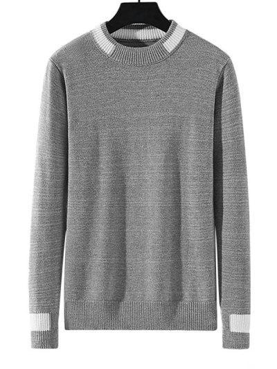 Colorblock Stripe Pullover Knit Sweater - Gray Cloud S