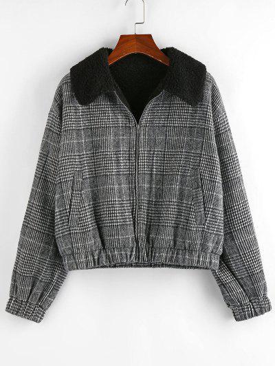 ZAFUL Houndstooth Plaid Teddy Lined Drop Shoulder Jacket - Black S