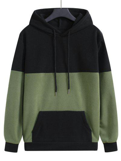 Colorblock Fleece Pullover Hoodie - Black 2xl