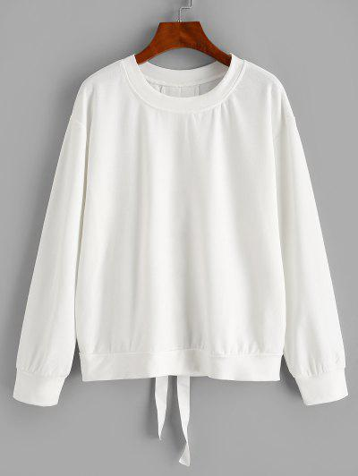 Solid Lace Up Back Sweatshirt - White M